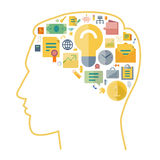 Icons for business arranged in human brain shape Royalty Free Stock Photo