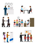 Icons on business banking system flat style Stock Image