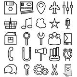 Icons of business and entertainment theme. Vector set of icons of business and entertainment theme Stock Photo