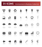 Icons - Business and Environment. 35 High Detailed Icons - Business and Environment Collection Stock Photos