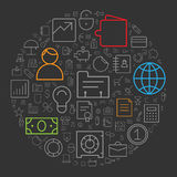 Icons for business and finance arranged in circle Stock Image