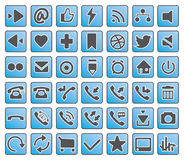Icons of business, finance, network and marketing. Icon of business, finance, network and marketing, simple blue, grey  set Stock Photo