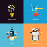Icons for business grows, save money, partners and e-learning stock illustration