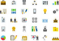 Icons for business, office and work. Set of colorful icons illustrating aspects of business, office and work, white background Stock Photography