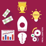 Icons of business process in flat style Stock Photo
