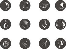Icons for business publications. Images illustrate efficiency, application, contract, geography and location, quality, service, process, dialog, savings Stock Image