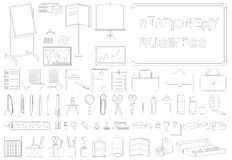 Icons business stationery line. Icons on white background outline on the subject of business stationery Stock Photo