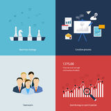 Icons for business strategy, teamwork, workflow Stock Images