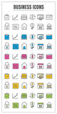 Icons Business thin line color black blue pink Yellow green vect Stock Photo