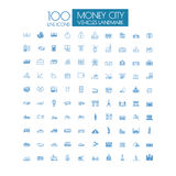 100 icons Business Travel landmark and public transportation. Icons Business Travel landmark and public transportation vector illustration