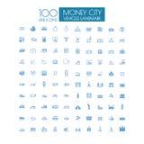 100 icons Business Travel landmark and public transportation Stock Image