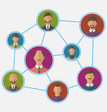 Icons of businessman enclosed in round frame, business teamwork Royalty Free Stock Photos