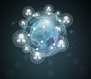 Icons of businessmen in the combined global network Royalty Free Stock Images