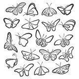 Icons of butterflies. Nineteen icons butterflies. The different angles Stock Image