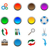 Icons and buttons 05.11.12. A small collection of color 3D icons for various necessities Stock Images