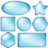 Icons buttons blue, set Stock Photo