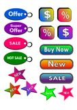 Icons, buttons , labels Commercial Royalty Free Stock Photos