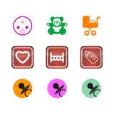Icons buttons set children baby web Stock Photography