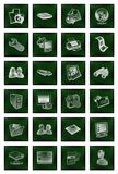 Icons buttons set in green Royalty Free Stock Photos