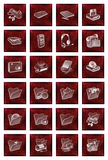 Icons buttons set in red Stock Photography