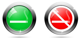 Set of Smoking buttons Stock Photos