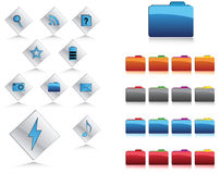 Icons and buttons in web 2.0 style Stock Photo