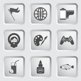 Icons on the buttons for Web Design. Set 7 Stock Photography