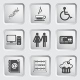 Icons on the buttons for Web Design. Set 5 Stock Photos