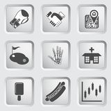 Icons on the buttons for Web Design. Set 8 Royalty Free Stock Image