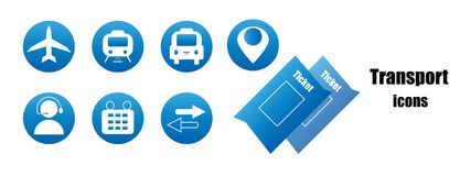 Blue transport icons Royalty Free Stock Photo