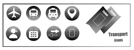 Icons for buying online tickets for transport. Web site buttons stock photo