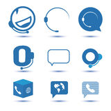 Icons for call center or hotline, support symbol in vector. Microphone, phone Stock Photo