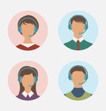 Icons of call center operator with man and woman are featureless. Illustration icons of call center operator  with  man and woman are featureless wearing Royalty Free Stock Photo