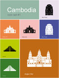 Icons of Cambodia Royalty Free Stock Images