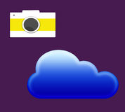 Icons. Camera and a blue cloud icon on purple background Royalty Free Stock Photos