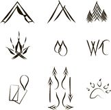 Icons for camping, hand drawing, black lines on a white background Stock Photo