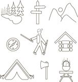 Icons camping hiking, trekking, backpacking. Thin black lines on a white background Royalty Free Stock Photos