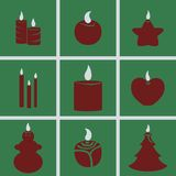 Icons Candles. Set of icons on a theme Candles Stock Photos