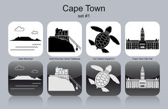 Icons of Cape Town. Landmarks of Cape Town. Set of monochrome icons. Editable vector illustration stock illustration