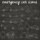 Icons for car accedent and tow truxk Stock Photography