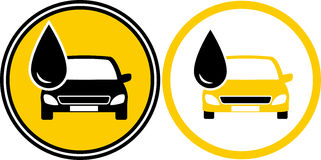 Icons with car and fuel oil drop royalty free illustration