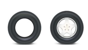 Icons of Car parts for garage, auto services. Set of automobile tires  on a white background, various parts. Car Stock Image