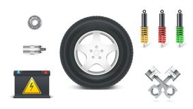Icons of Car parts for garage, auto services. Set of automotive shock absorbers, tyre with disc, piston set for engines. Battery, bearing, electric coil Stock Photography