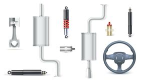 Icons of Car parts for garage, auto services. Set of car shock absorbers, piston for motors, kit of attenuators and. Electric reels, wheel of the car isolated Royalty Free Stock Photography