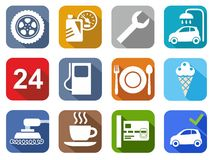 Icons car service, car wash, polishing, tire, cafe, color, flat. Stock Photo