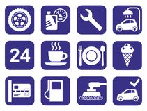 Icons car service, car wash, polishing, tire, cafes, monochrome, flat. Royalty Free Stock Photos