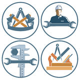 Icons for carpenter, locksmith and engineer Stock Photos