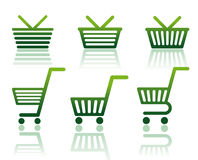 Icons of carts and baskets Stock Images