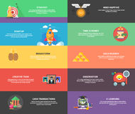 Icons for cash transactions, strategy, start up Royalty Free Stock Image