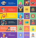 Icons for cash transactions, strategy, start up stock illustration